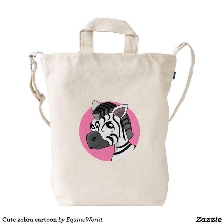 Cute zebra cartoon duck canvas bag