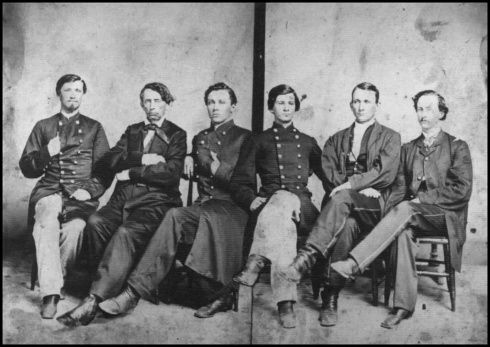 Adjutant General James P. Brownlow on left with his father, Tennessee Governor William G. Brownlow and staff probably taken in 1865 or 66.  The 1st TN Cav was part of Croxton's Brigade.  James Patton Brownlow was born in 1842 to William Gannaway and Eliza A. (O'Brien) Brownlow.