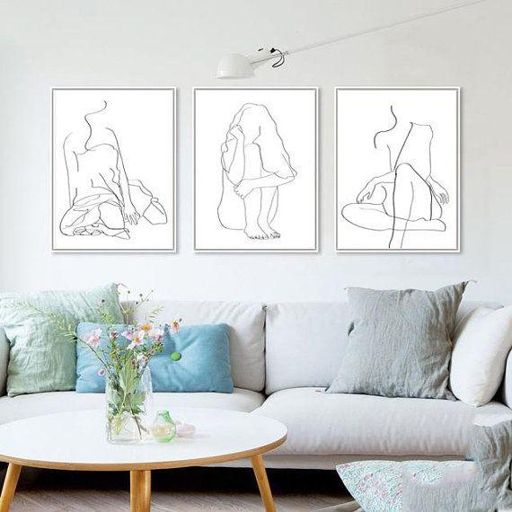 Woman Line Drawing Set Of 3 Prints Interior Art Female Line Art