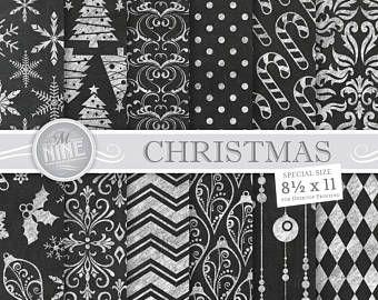 Tiza papel Digital de la Navidad / Navidad imprimibles de la tiza / 8 1/2 x 11 boda patrón impresiones, descargas de tiza, tiza patrones