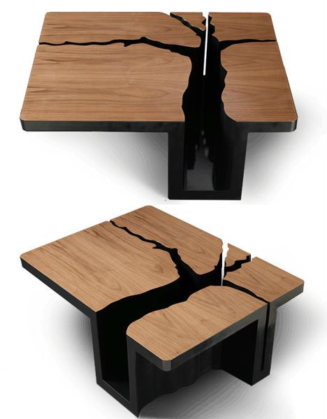 Made of solid MDF with a walnut veneer top, the table offers a little bit of storage in the negative space of the trunk (and a little bit of 'eww, that's impossible to clean' in the branches.)