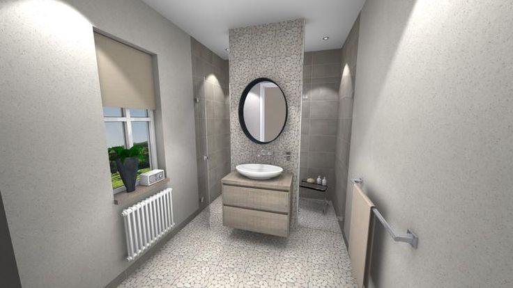 (@ Middelkoop Culemborg / badkamers) Kiezelstenen, kiezelstenen en nog een kiezelstenen. Deze badkamer grenst aan een slaapkamer waarin de nodige luxe in verwerkt is. Achter de wastafelmuur is een grote regendouche te vinden met daaronder een Sunshower. Deze Sunshower zorgt voor de dagelijks vitamine-D, en de nodige spiermassage. Een perfect alternatief voor bad met een Whirlpool Systeem. Voor meer badkamer ideeën zie onze website.