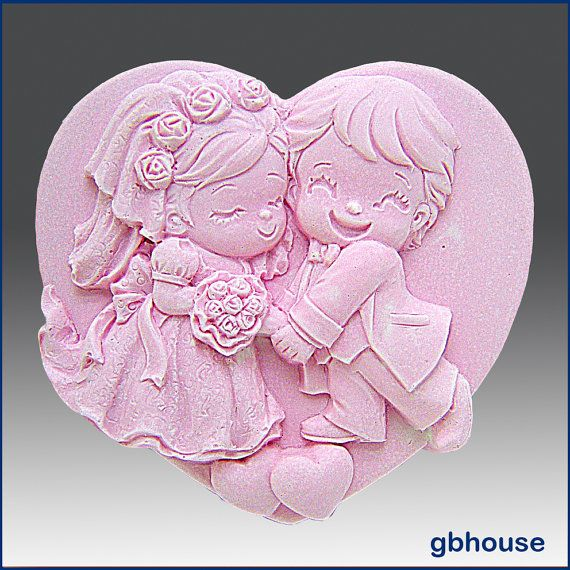 2D Silicone Soap Mold  Cutest Couple by egbhouse on Etsy