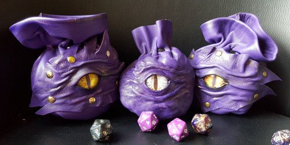 Dice Bags Purple Nappa Leather With Cabochon Dragons Eye