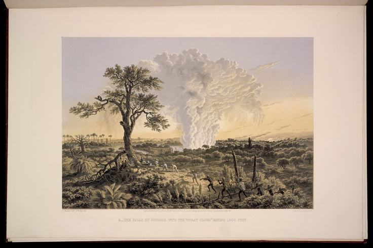"""Plate 2: The Falls by sunrise, with the """"spray cloud"""" rising 1,200 Feet."""