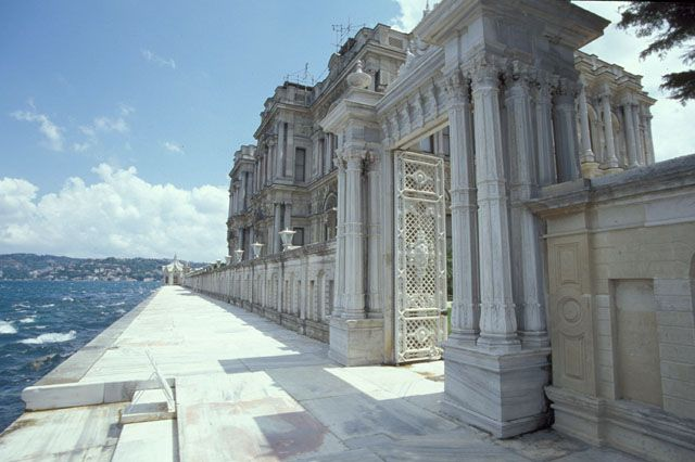 """The Beylerbeyi Palace (Turkish: Beylerbeyi Sarayı, Beylerbeyi meaning """"Lord of Lords"""") is located in the Beylerbeyi neighbourhood of Istanbul, Turkey at the Asian side of the Bosphorus. An Imperial Ottoman summer residence built in the 1860s, it is now situated immediately north of the 1973 Bosphorus Bridge."""