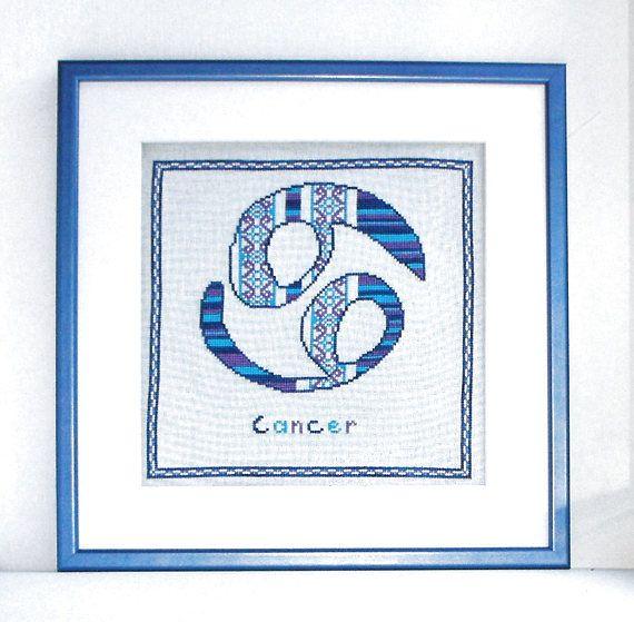 Cancer Zodiac cross stitch pattern PDF, blue cross stitch