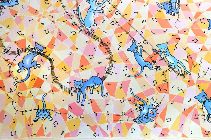 silk scarf 90cm x90cm: blue cats dismantling the music  (hand painted on 100% silk by Jani Nanavati)  . . .  #cat #cats #music #musical #notes #silk #scarf #art #handmade