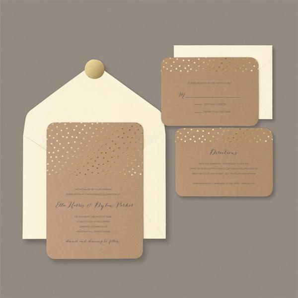 Brides Gold Foil Dot Kraft Invitation Kit (Pack Of 30)