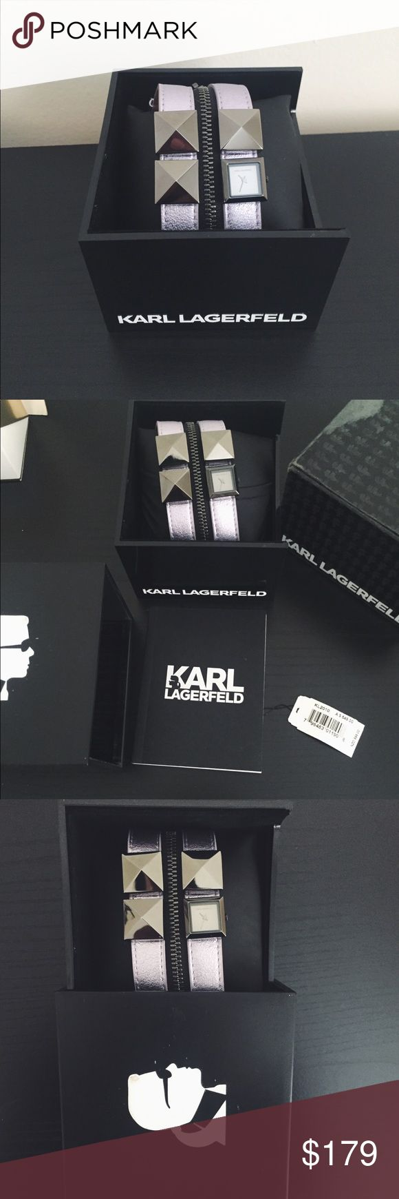 Karl Lagerfeld Zip Leather Watch New! Never been worn. Complete with receipt, price tag, authenticity card, care instructions , box Karl Lagerfeld Accessories Watches