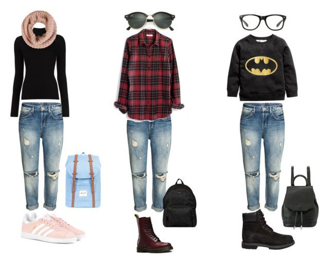 outfit school by anna-lena09 on Polyvore featuring polyvore, fashion, style, Madewell, Misha Nonoo, Dr. Martens, adidas Originals, Timberland, rag & bone, Herschel Supply Co., Hogan, Accessorize, Ray-Ban and clothing