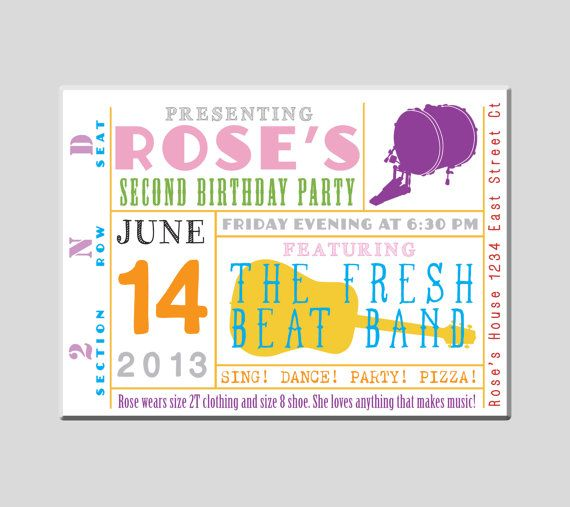 Music Birthday Party Invitation That Looks Like A Band Concert Ticket!