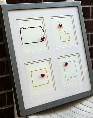 Oooh!  What a lovely way to remember all the places we have lived!  oooorrr wonderful places you have visited!!!: Home Wall Decor, Embroidered States, Gifts Ideas, Cute Ideas, Embroidered Wall, Places, Sweet Home, U.S. States, Military Families