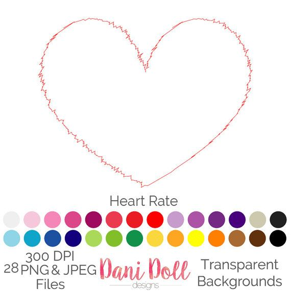 Heart Rate Line Scribble 28 Colours Clip Art Valentines Love PNG JPEG Commercial Use Scrapbooking Instant Download by danidolldesignsx