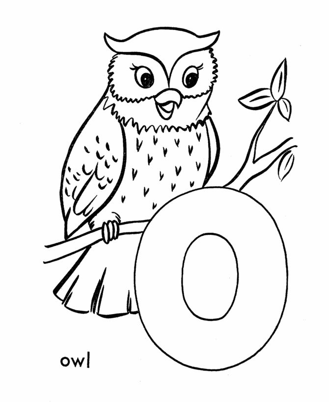 abc primary coloring activity sheet letter o is for owl - Color By Letter Printables