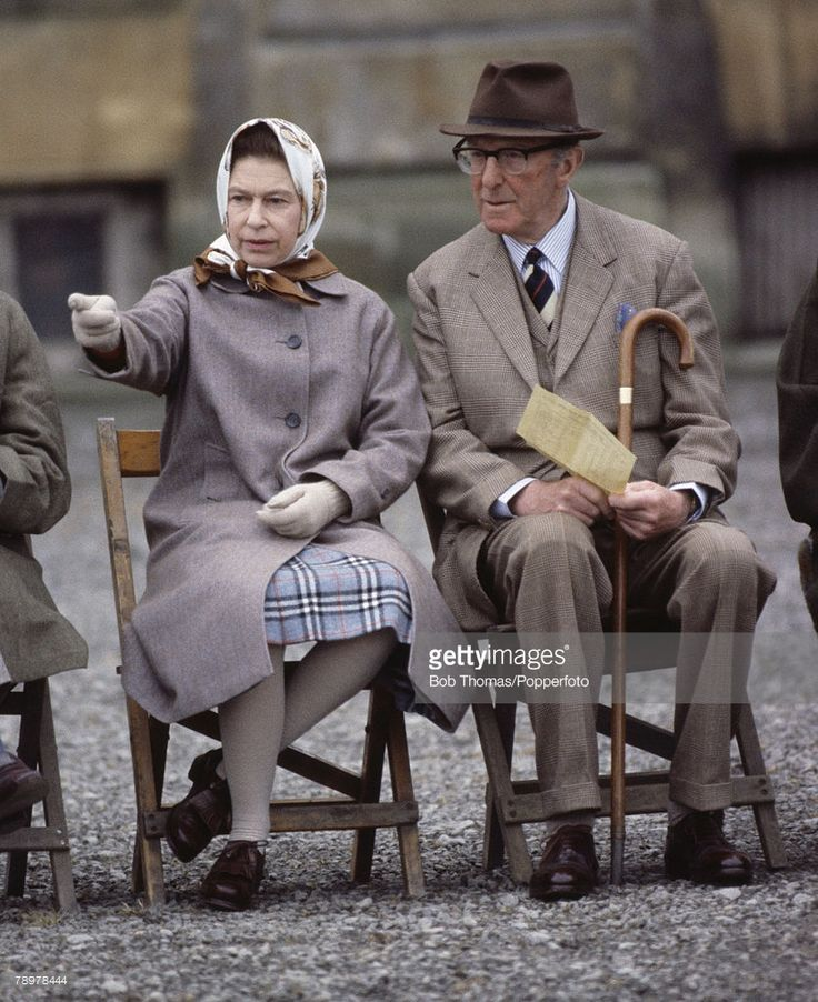 British Royalty, England, April 1981, Queen Elizabeth II with the Duke of Beaufort watching the Badminton Horse trials Show more