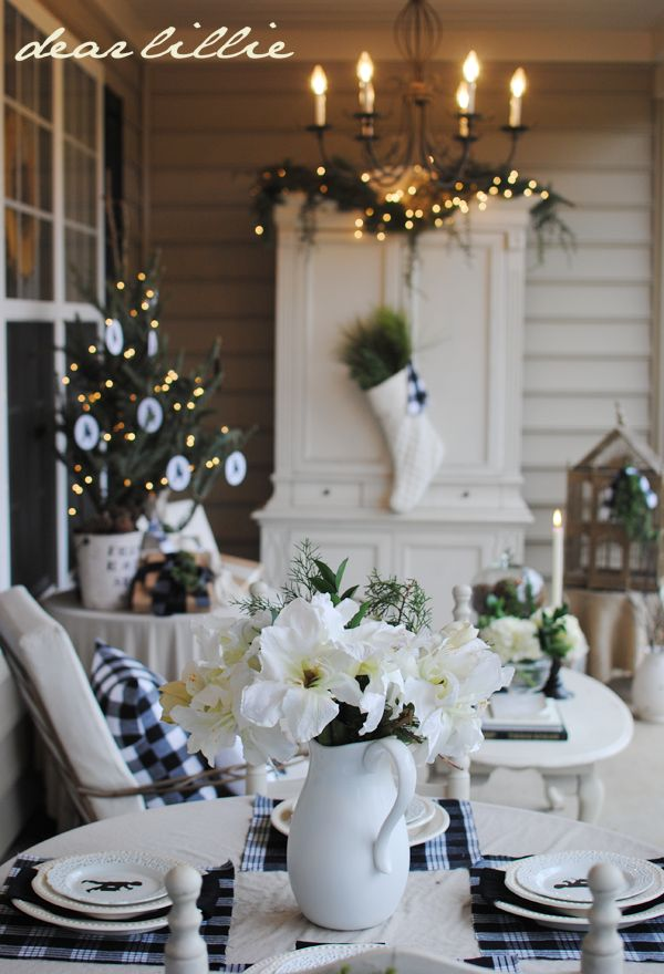 Dear Lillie: Color on the Porch Part II (The Blue Armoire) (This was before the blue armoire at Christmas)