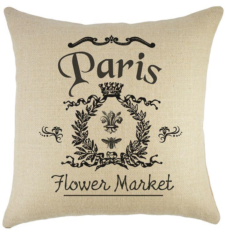 Paris Flower Market Burlap Throw Pillow Pillows, Burlap and Flower market