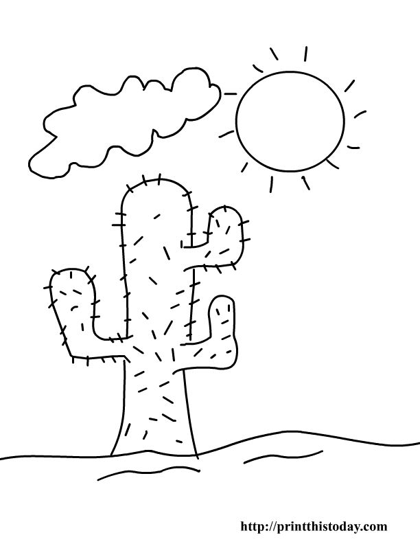 printable cactus template cactus and sun desert coloring page