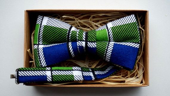 Blue Green White Bow tie / Checkered cotton bow by ArtOfLithuania