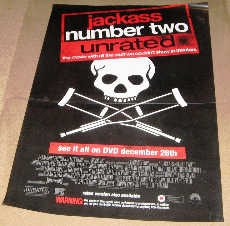 Jackass Number Two Movie Poster 27x40 Used Scott Hislop, Chris Pontius, Mike Judge, Bam Margera, Mark Meismer, April Margera, Rip Taylor, Scott Manning, Paige Peterson, Ehren McGhehey, Mat Hoffman, Rick Kosick