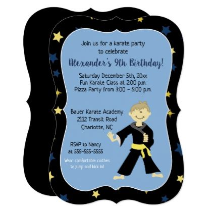 Tae Kwon Do Birthday Invitations Yellow Belt Boy - girl gifts special unique diy gift idea