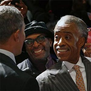 Spike Lee and Al Sharpton were very, very happy to meet with President Obama today following his speech at Sharpton's National Action Network conference. April 2014