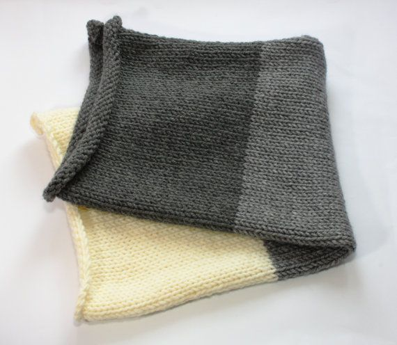 Knit Baby blanket. Chunky baby blanket. Reversible. by CreamKnit