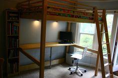 Materials: MATERIALS: FJELLDAL Loft Bed, VIKA KAJ Table Leg, Solid Birch Door, slim pine board. TOOLS: Table saw, handsaw, wood screws, a few small nailsDescrip