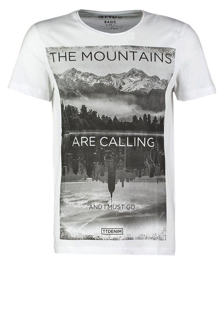 TOM TAILOR DENIM BASIC FIT - T-shirt z nadrukiem - white za 43,2 zł (09.07.16) zamów bezpłatnie na Zalando.pl.