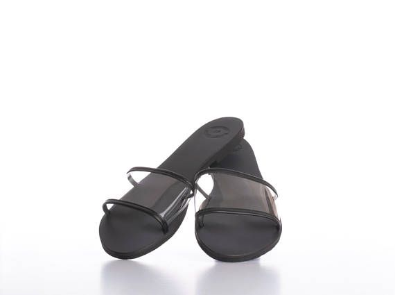 50eb1c2709288 Womens leather flip flops Clear woman leather slides Greek leather ...