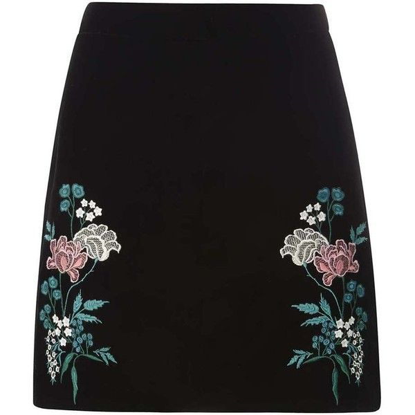 Dorothy Perkins Black Embroidered Velvet Skirt (£30) ❤ liked on Polyvore featuring skirts, bottoms, black, saias, embroidered skirt, dorothy perkins, floral print skirt, velvet skirt and floral knee length skirt