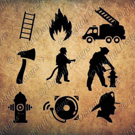 Firefighter Silhouettes Clipart Images svg, png, dxf, eps, fcm, ai Cut File. Firefighter cut files firefighter clipart images by DigitailDesigns on Etsy