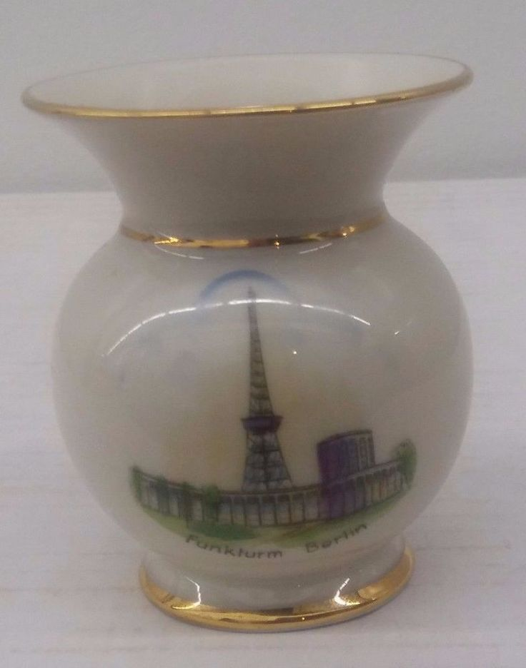 Funkturm Berlin Radio Tower Gerold Porzellan Mini Vase Bavaria Souvenir 1930's #GeroldPorzellan