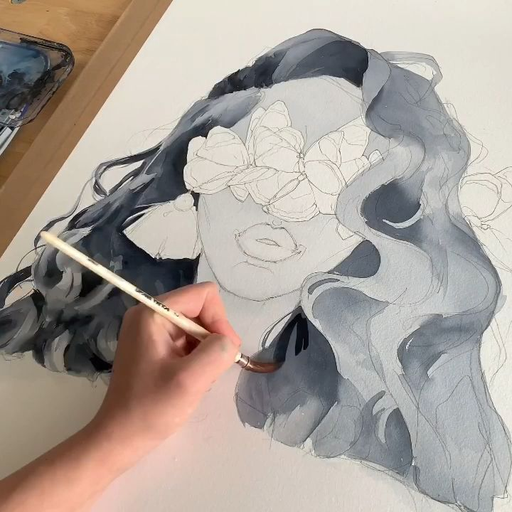 Painting Hair By Polina Bright Watercolour Hairdrawing