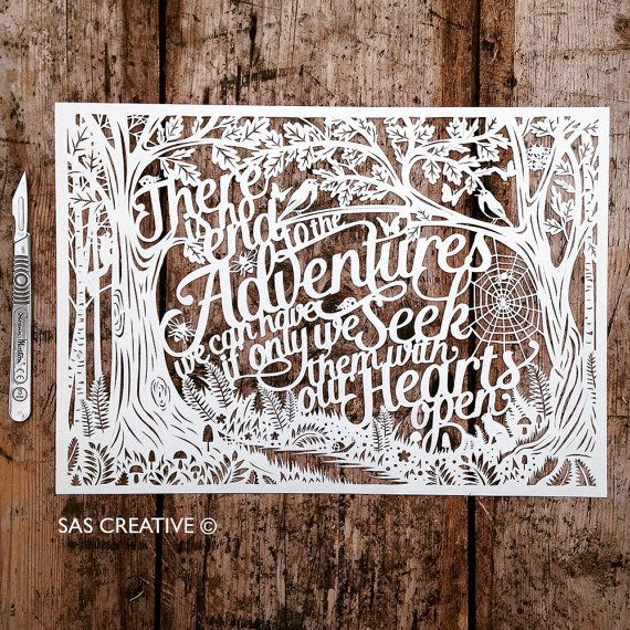 "Papercut Template PDF ""There is no end to the Adventures we can have' Inspirational Typographic New Baby Design by Samantha's Papercuts"