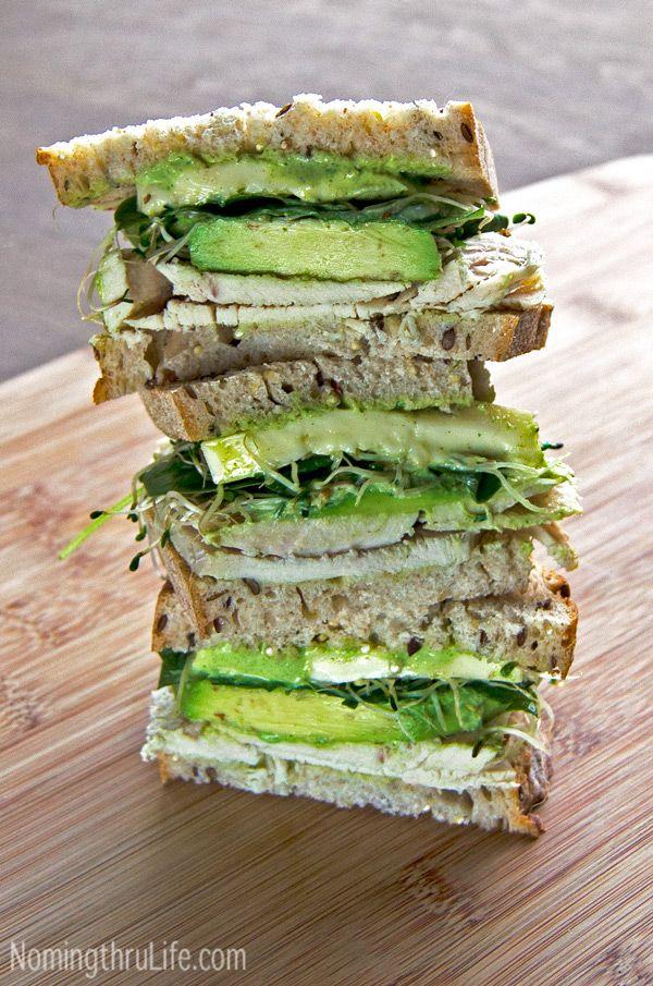Green Goddess Roast Turkey Sandwich - A fresh, crisp, flavor packed, delicious, roasted turkey, green goddess sandwich.