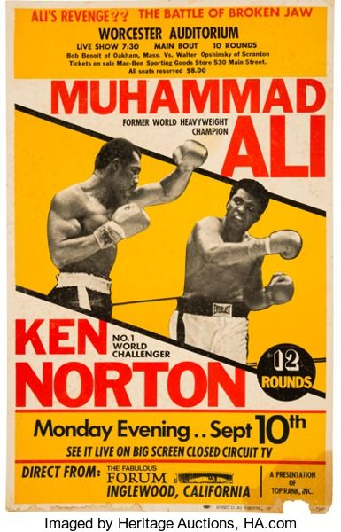 Boxing Collectibles:Memorabilia, 1973 Muhammad Ali vs. Ken Norton II Closed-Circuit Fight Poster....