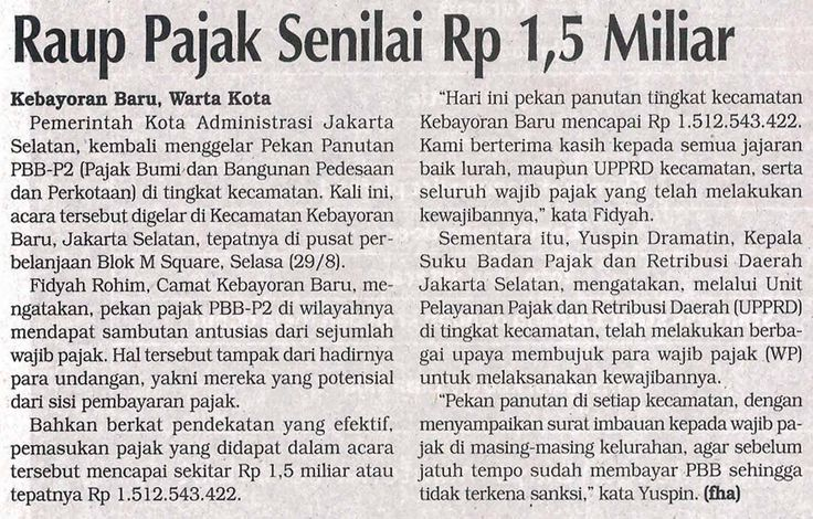 Kliping Berita Pekan Panutan PBB Jakarta Selatan (Warta Kota)