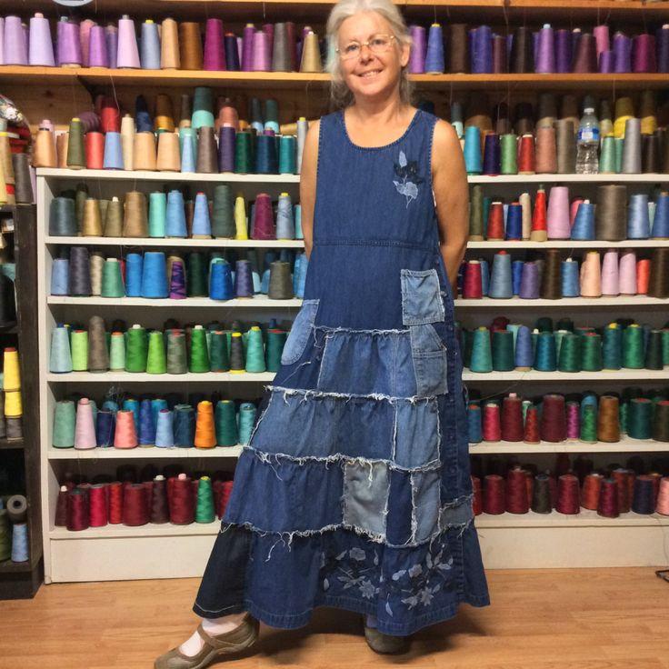Patchwork Tiered Ruffle Denim Long Jumper Dress with от sewsomer
