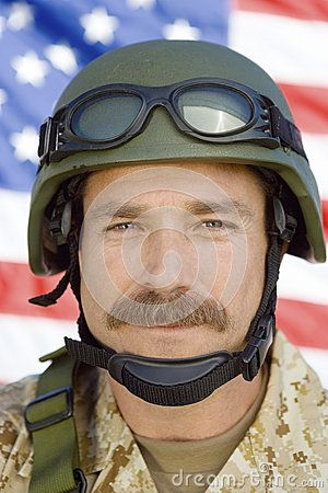 Male Soldier In Front Of US Flag - Download From Over 50 Million High Quality Stock Photos, Images, Vectors. Sign up for FREE today. Image: 30844012