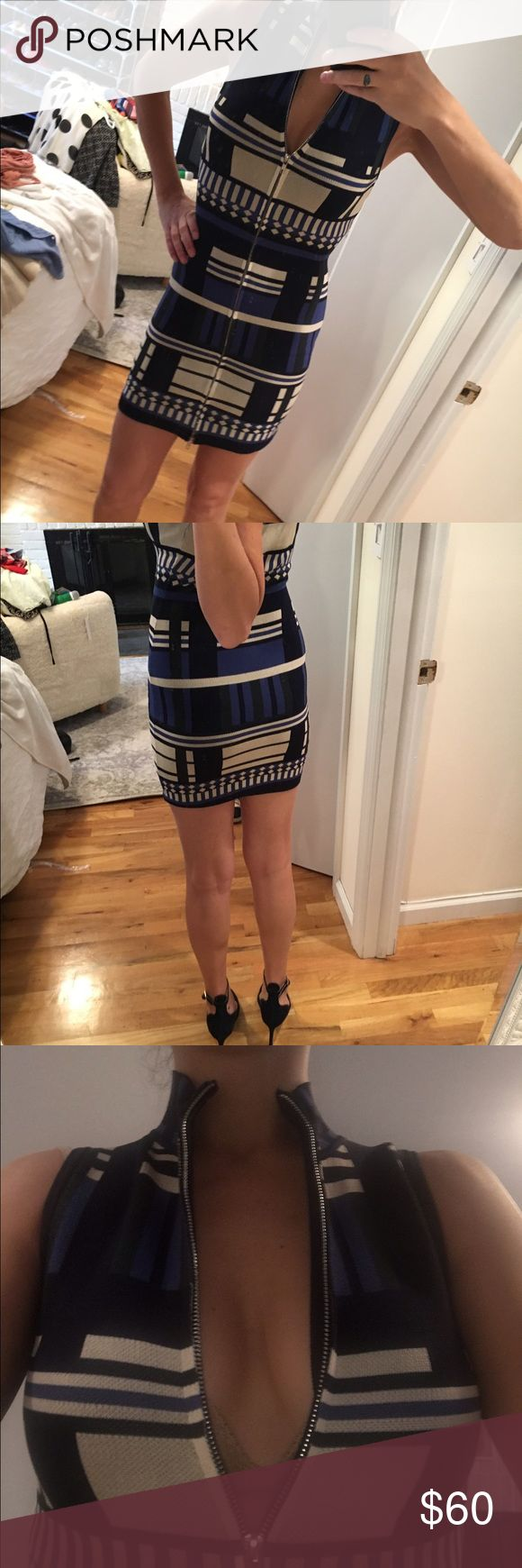 Bodycon fitted blue & white zipped up front dress Skin tight; zipper all the way up the front so easy and comfortable to change; multi colored blue, green, white and navy Flying Tomato Dresses