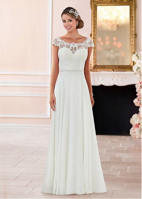 Magbridal Charming Tulle & Chiffon Scoop Neckline A-Line Wedding Dresses With Lace Appliques & Beadings