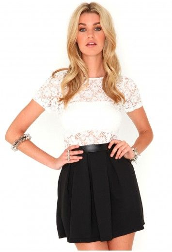 Alda Monochrome Lace & Leather Skater Dress  Black  £26.99