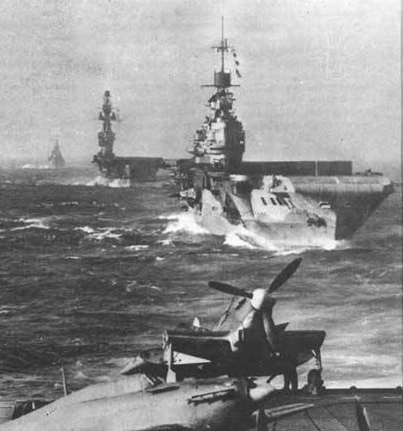 hms indomitable with hms eagle behind taken from flight deck of HMS Victorious - Operation Pedestal.