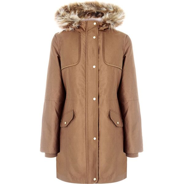 THE GRACE PREMIUM PARKA (1 550 SEK) ❤ liked on Polyvore featuring outerwear, coats, lightweight parka, beige coat, fur-lined parkas, fur-lined coats and lined parka coats