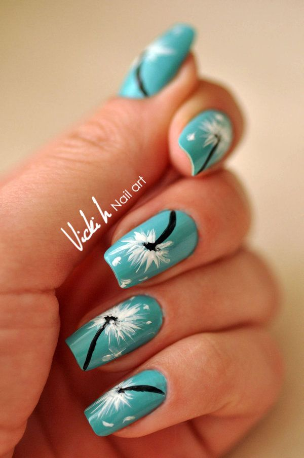 Try Dandelion nail art with different designs and base coats with the many ideas and tutorials on how to do it easily and neatly like a pro.