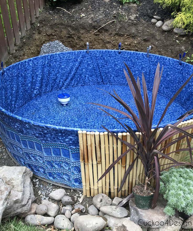 Nossa nova piscina de tanque de estoque em nosso quintal inclinado   – Home