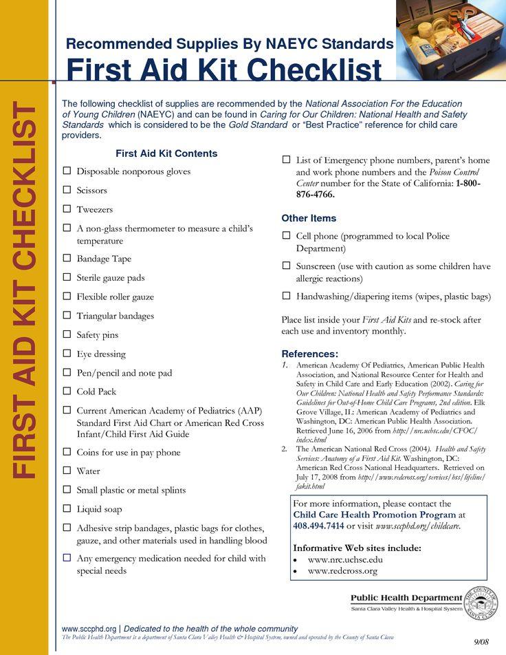 Printable First Aid Kit Checklist First Aid Chart PDF