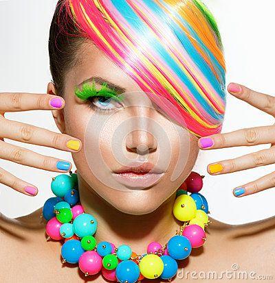 Meisjesportret met Kleurrijke Make-up
